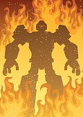 Giant robot in flames.