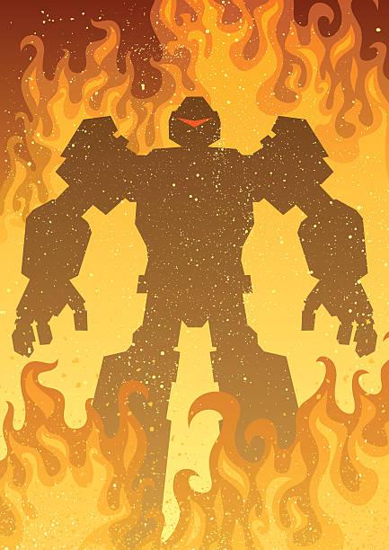 Robot Giant robot in flames. transformer stock illustrations