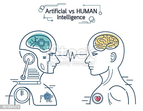 Robot Vs Human Ai Artificial Intelligence And Human Intelligence Concept Business Disruptive