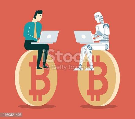 Robot Vs Human. Robotic Machine And Businessman Working