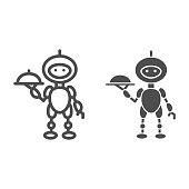 Robot waiter line and solid icon, Robotization concept, Future restaurant service sign on white background, Waiter robot with covered plate icon in outline style for mobile and web. Vector graphics.