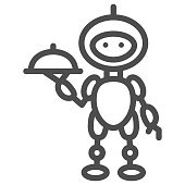 Robot waiter line icon, Robotization concept, Future restaurant service sign on white background, Waiter robot with covered plate icon in outline style for mobile and web. Vector graphics.