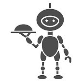 Robot waiter solid icon, Robotization concept, Future restaurant service sign on white background, Waiter robot with covered plate icon in glyph style for mobile and web. Vector graphics.