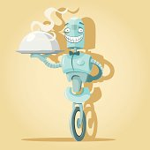 Illustration of robot waiter with tray. PDF file included.
