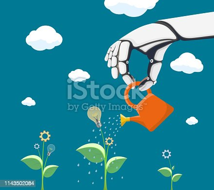 Robot watering flower with gear. Scientific innovation and artificial intelligence. Vector illustration.