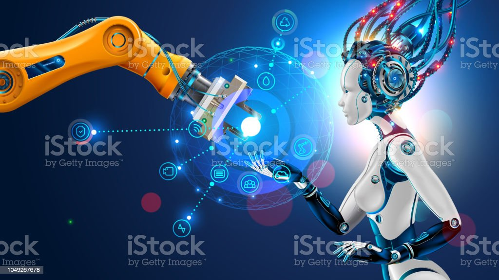 Robot with artificial intelligence takes control of factory. Robotic arm. AI. management of industrial automation of manufacturing. vector art illustration