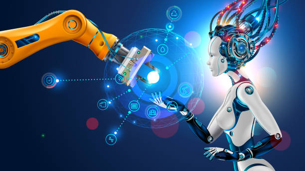 Robot with artificial intelligence takes control of factory. Robotic arm. AI. management of industrial automation of manufacturing. Robot with artificial intelligence takes control of factory into their hands. Robotic arm goes into the management of AI. Hud interface with icons management of industrial automation of manufacturing. cyborg stock illustrations