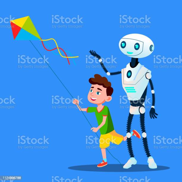 Robot with child fly a kite vector isolated illustration vector id1124996788?b=1&k=6&m=1124996788&s=612x612&h=gzxh5g1jslgmrnl bxztljqqro9bzlcofetnatllimo=