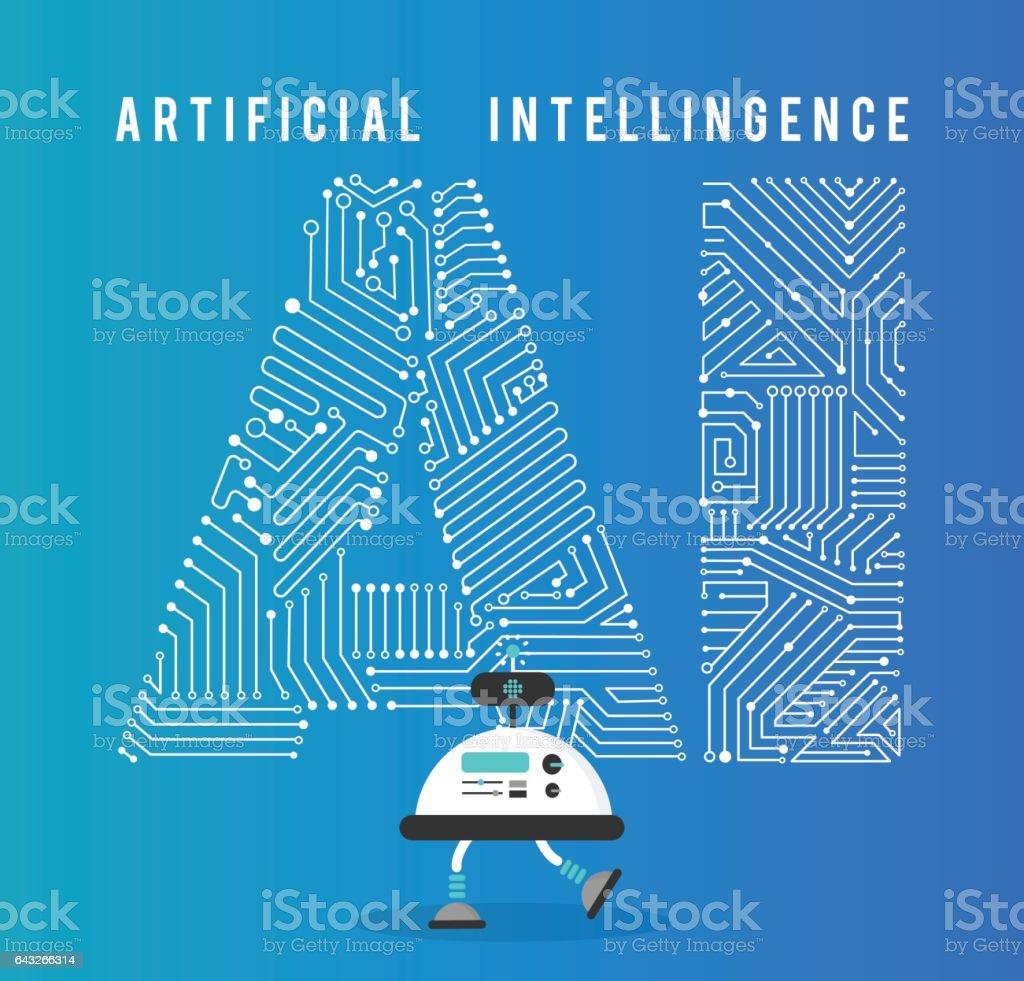 Robot con el concepto de inteligencia artificia. - ilustración de arte vectorial