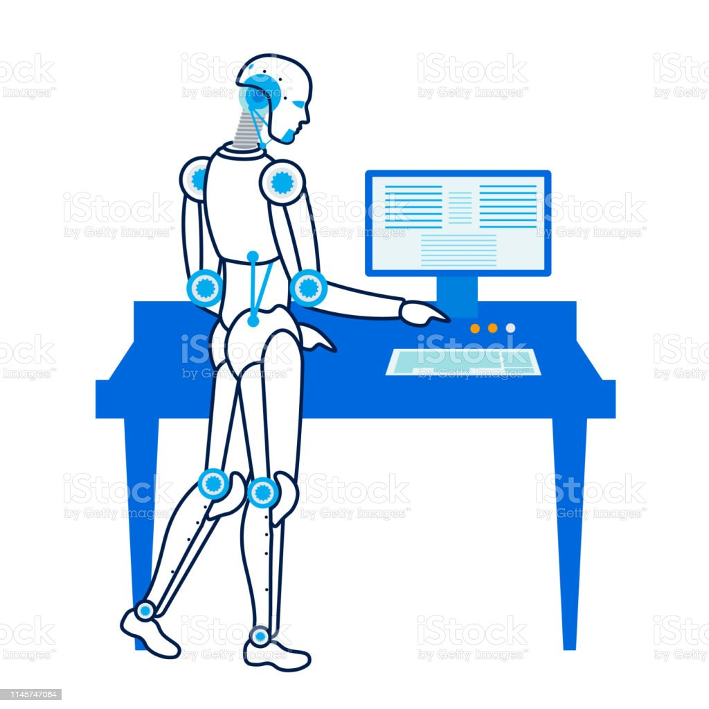 Robot Works At Personal Computer Flat Illustration Stock