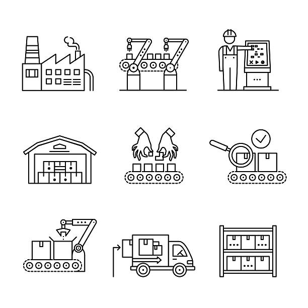 robotic and manual manufacturing assembly lines - warehouse stock illustrations