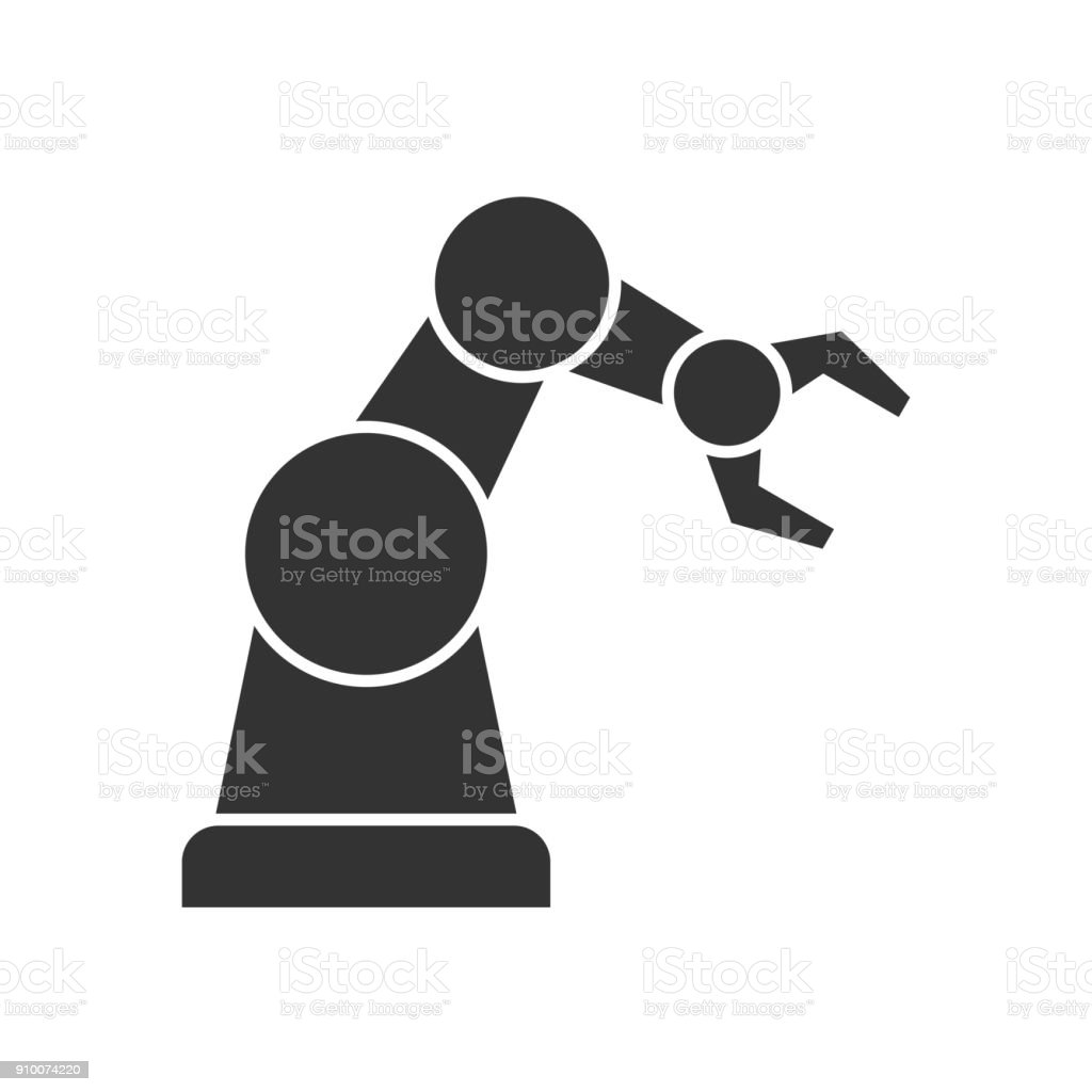 Robotic arm black icon vector art illustration