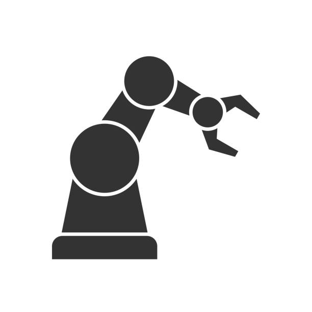 robotic arm black icon - robotics stock illustrations, clip art, cartoons, & icons
