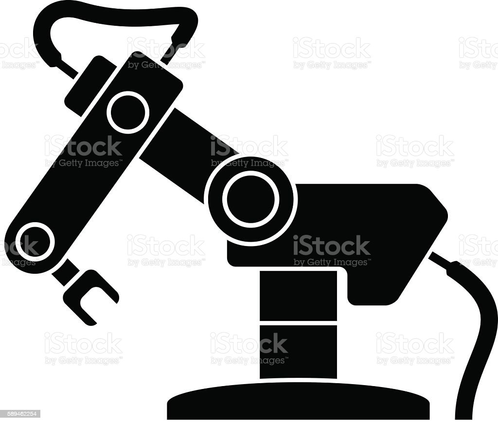 robotic arm black symbol vector art illustration