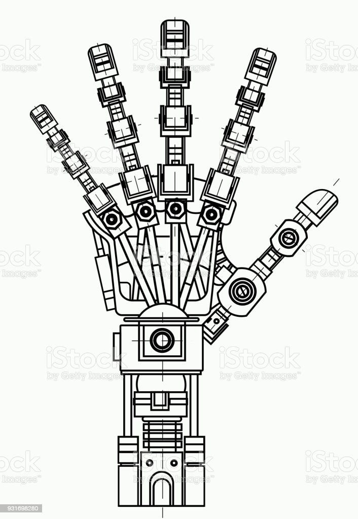 Robotic Arm Drawing Model It Can Be Used As An Illustration Of