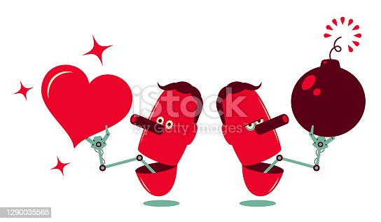 istock Robotic arm from man's open mouth holding a love heart and bomb 1290035565