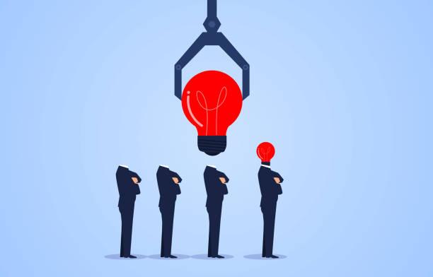 bildbanksillustrationer, clip art samt tecknat material och ikoner med robotarm installera glödlampa chef för affärsman - changing bulb led