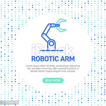 Robotic Arm Line Icons. Simple Outline Symbol Icons with Pattern