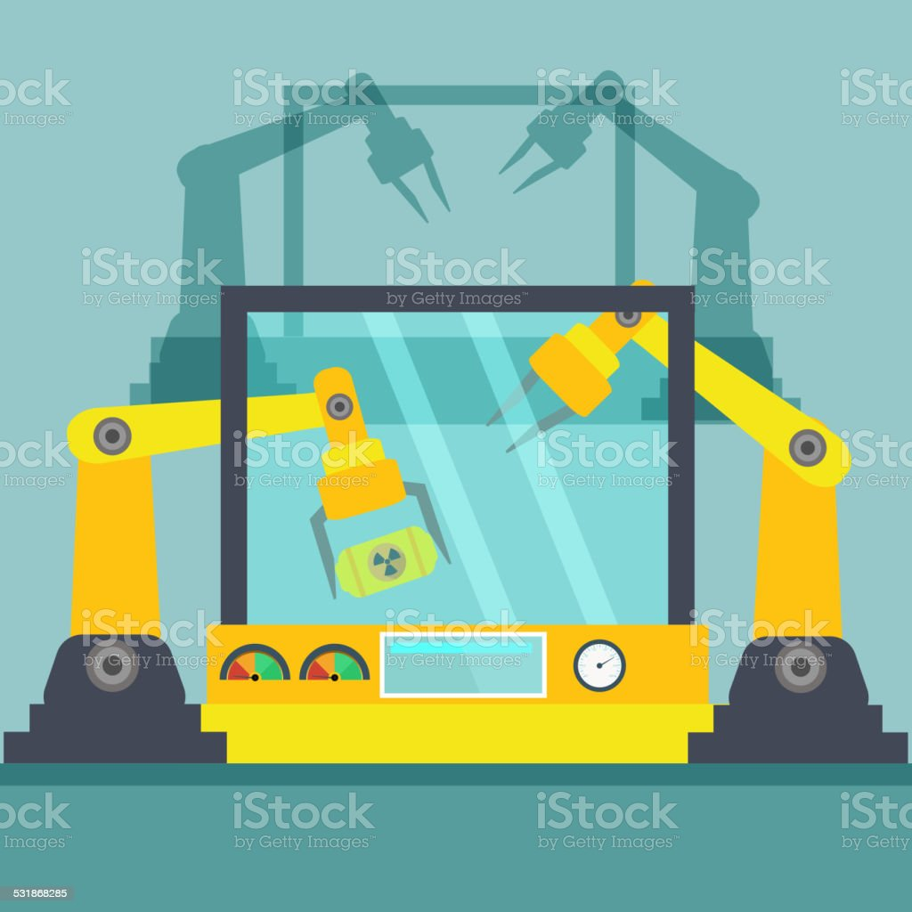 Robotic arm. Line mechanic manufacturing vector art illustration