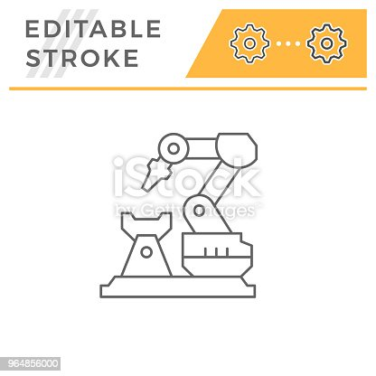 Robotic Arm Machine Line Icon Stock Vector Art & More Images of Arm 964856000
