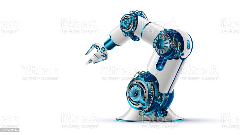 robotic arm. Mechanical hand. Industrial robot manipulator. vector art illustration