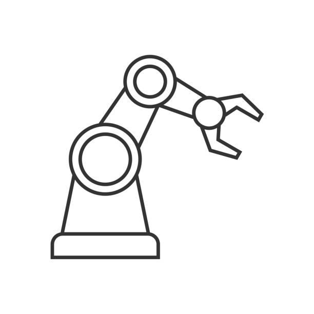 機器人手臂輪廓圖示向量藝術插圖