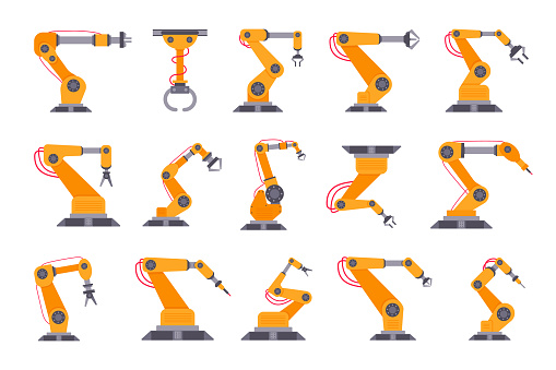 Robotic arm set flat style design vector illustration isolated on white background. Robot arms or hands. Industrial manipulator. Modern smart factory industry 4.0 technology manufacturing
