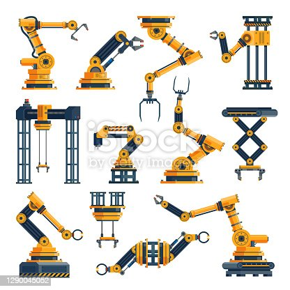 Robotic arms. Technological factory equipments elements, automatic electronic manipulators packaging or manufacturing system, robotic technology collection, mechanical tools. Vector flat isolated set