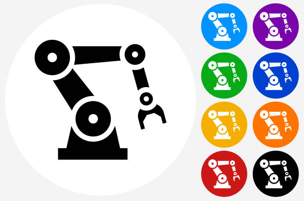 robotic hand icon on flat color circle buttons - robotics stock illustrations, clip art, cartoons, & icons