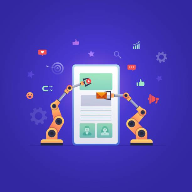 Robotic hands building marketing on smart phone. Vector Illustration Robotic hands designing and managing social media or mobile application. Automate ui, ux design or social media marketing. automated stock illustrations