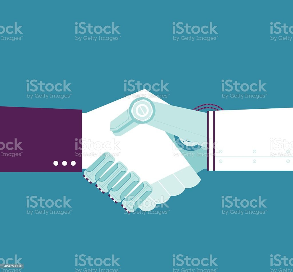 Robotic Handshake vector art illustration