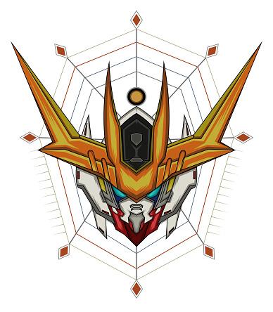 robotic head vector design . t shirt illustration. gundam art.