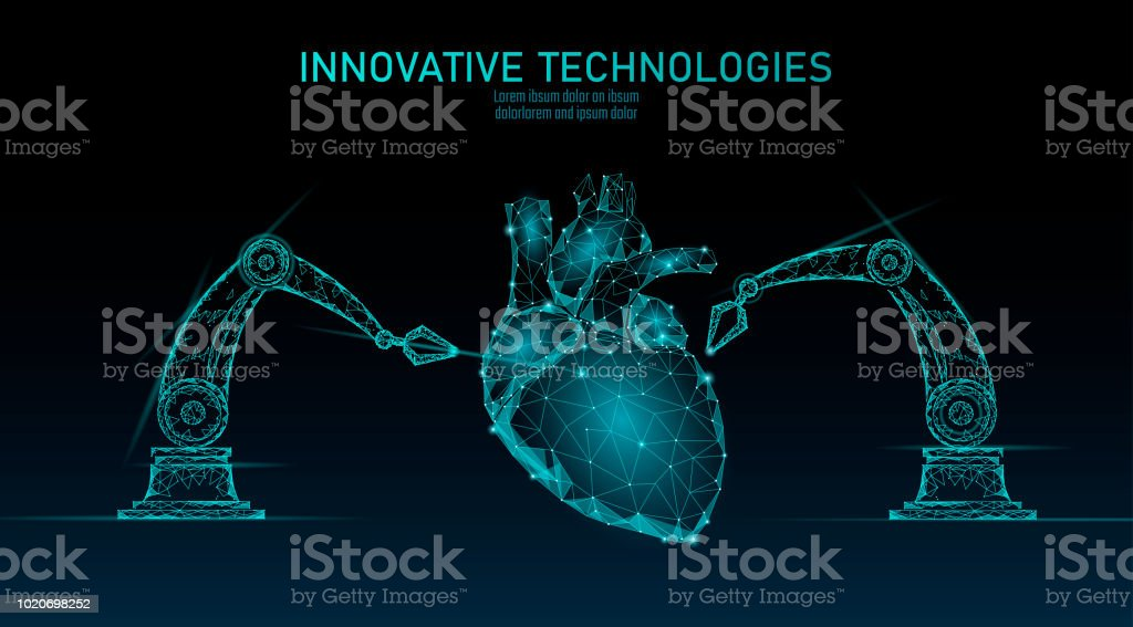 Robotic heart surgery low poly. Polygonal cardiology surgery procedure. Robot arm manipulator. Modern innovative medicine science automation technology. Triangle 3D render shape vector illustration vector art illustration