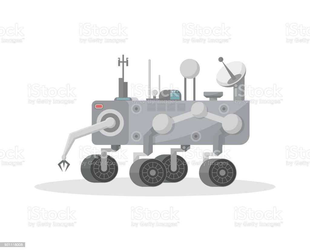 Robotic mars rover with hand manipulator icon vector art illustration