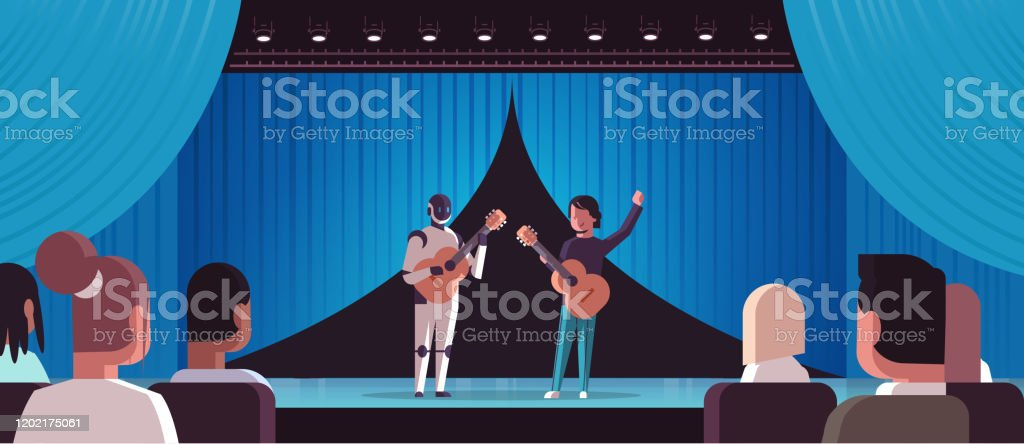 robotic musician with man guitarist playing acoustic guitar robot vs human standing together at theater stage with curtain s artificial intelligence concept full length horizontal - arte vettoriale royalty-free di Adulto