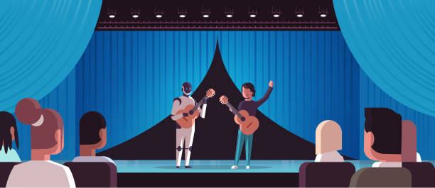 illustrazioni stock, clip art, cartoni animati e icone di tendenza di robotic musician with man guitarist playing acoustic guitar robot vs human standing together at theater stage with curtain s artificial intelligence concept full length horizontal - theatre full of people stage