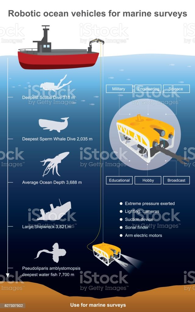 Robotic ocean vehicles for marine surveys vector art illustration