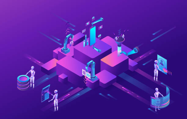 Robotic process automation concept with robots working with data, arms moving files, extracting information from websites, digital technology service, 3d isometric vector illustration vector art illustration