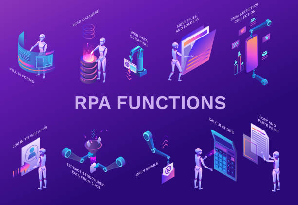 Robotic process automation elements set with robots working with data, arms moving files, extracting information from websites, digital technology service, 3d isometric vector illustration vector art illustration