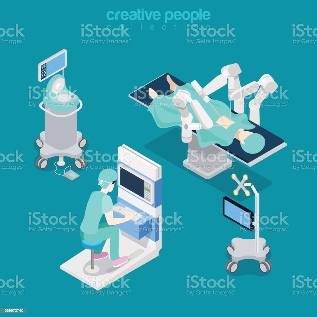 Robotic robot-assisted surgery patient medical hospital computer electronic modern equipment doctor operator. Flat 3d isometry style web site vector illustration. Creative people collection. vector art illustration