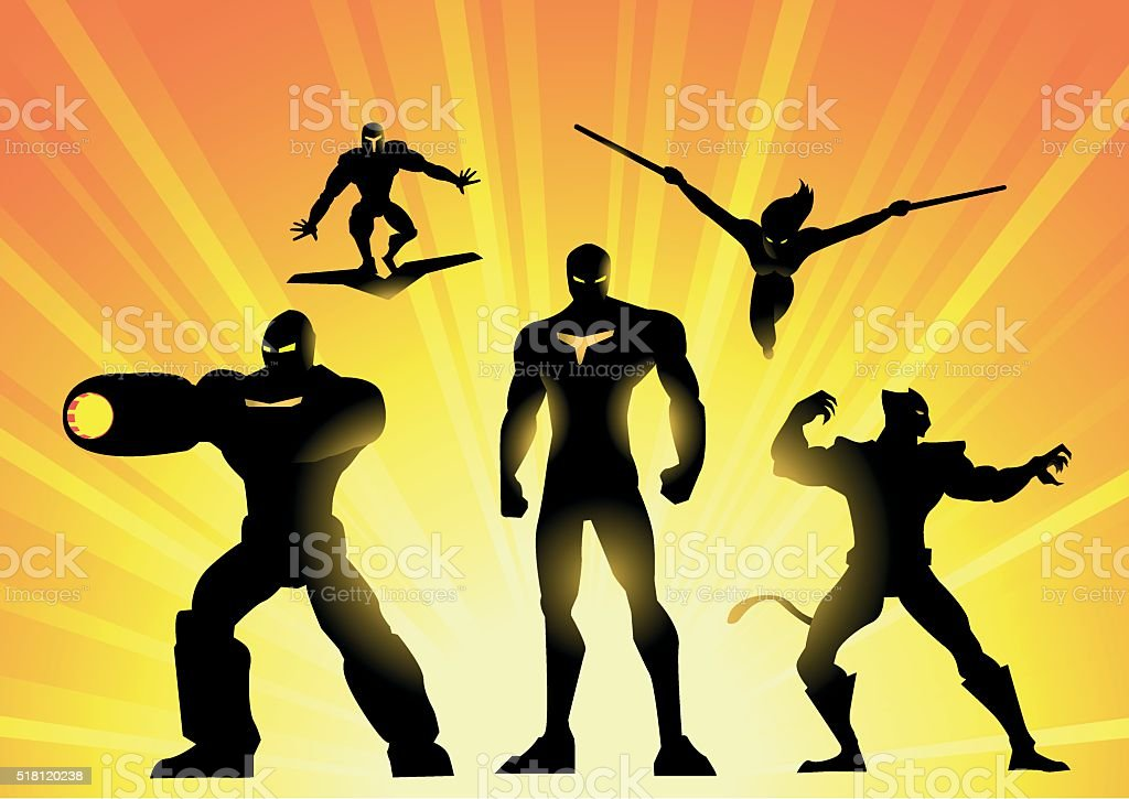 Robotic Superhero Team Silhouette vector art illustration