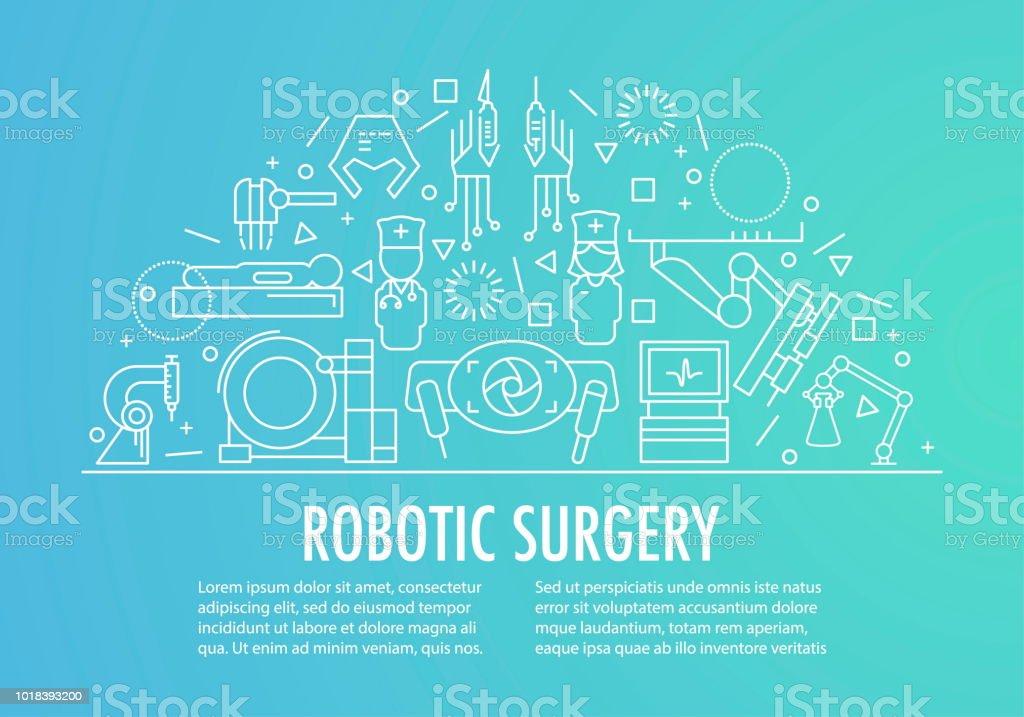 Robotic surgery banner vector art illustration