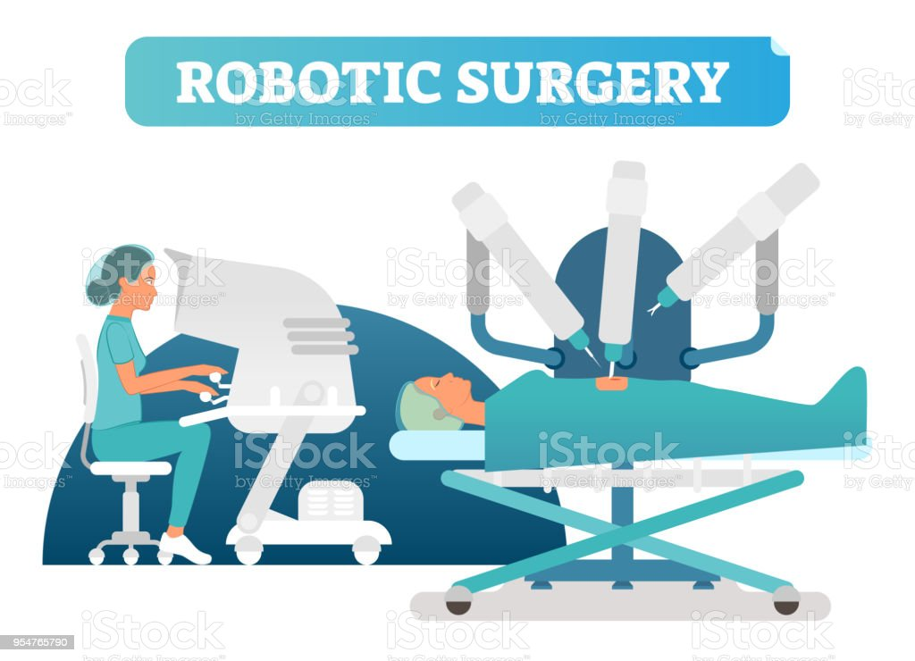 Robotic surgery health care concept vector illustration scene with surgical process. vector art illustration
