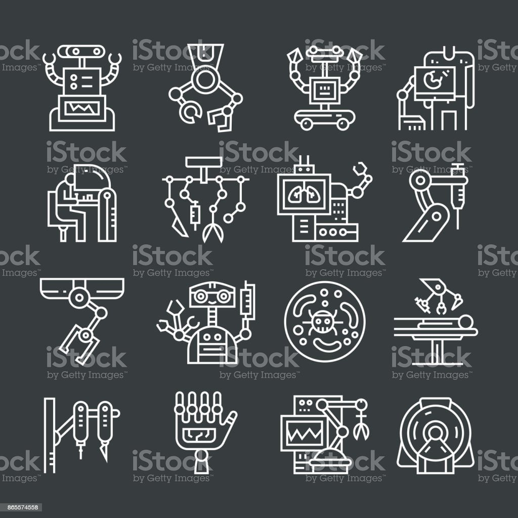 Robotic Surgery Icons vector art illustration