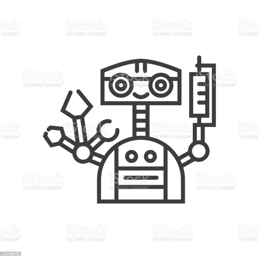 Robotic Surgery Line Icon vector art illustration