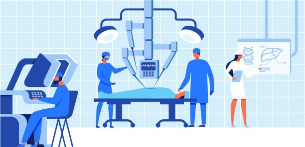 stockillustraties, clipart, cartoons en iconen met robotchirurgie medische operatie voor de patiënt. - chirurgie