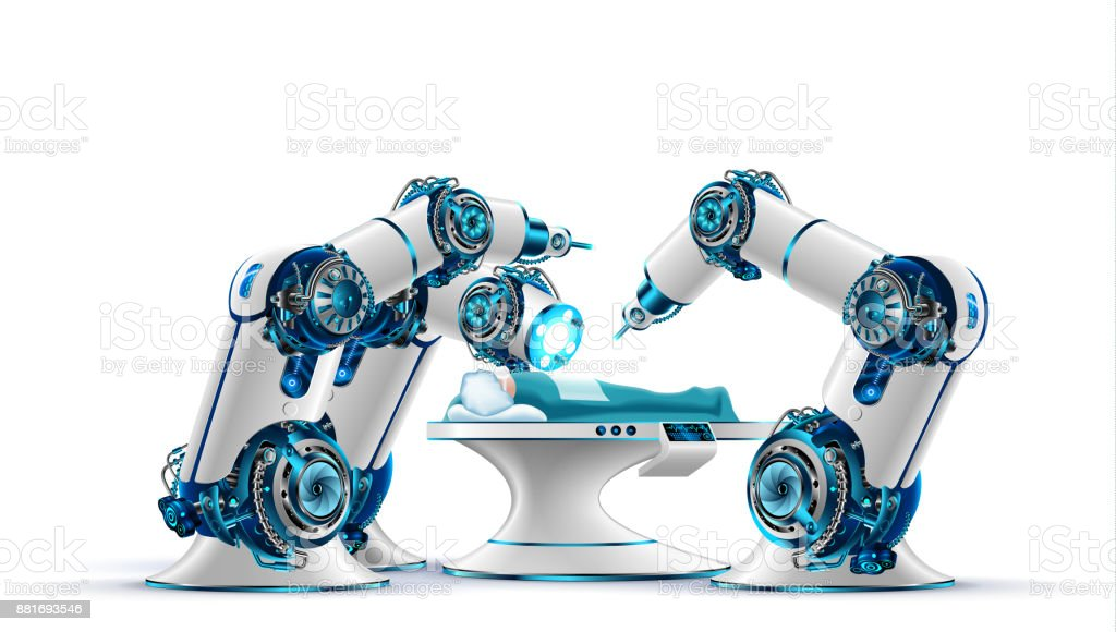 Robotic surgery. Robot surgeon makes a surgery patient on the operating table. vector art illustration