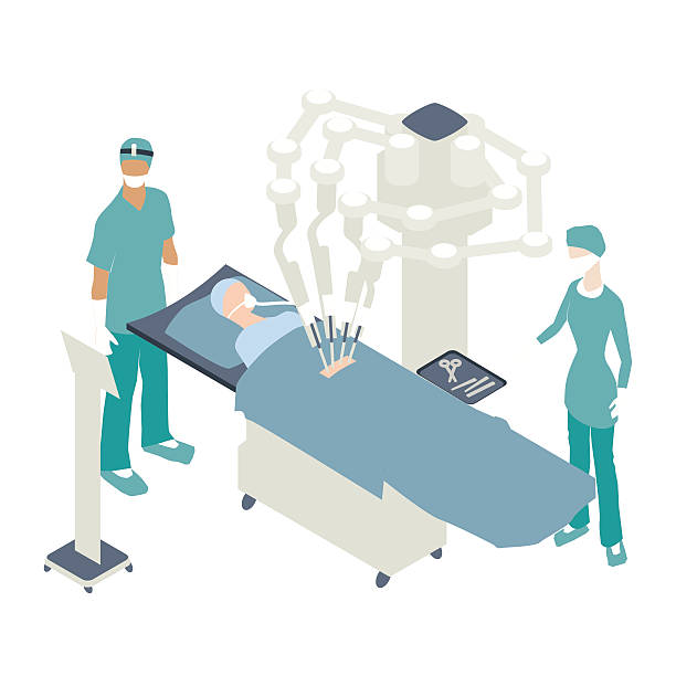 Robotic surgical system illustration vector art illustration