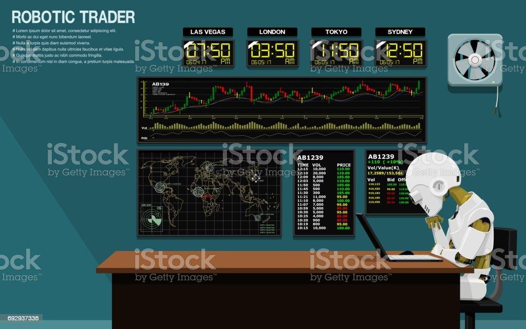 Robotic Trader vector art illustration