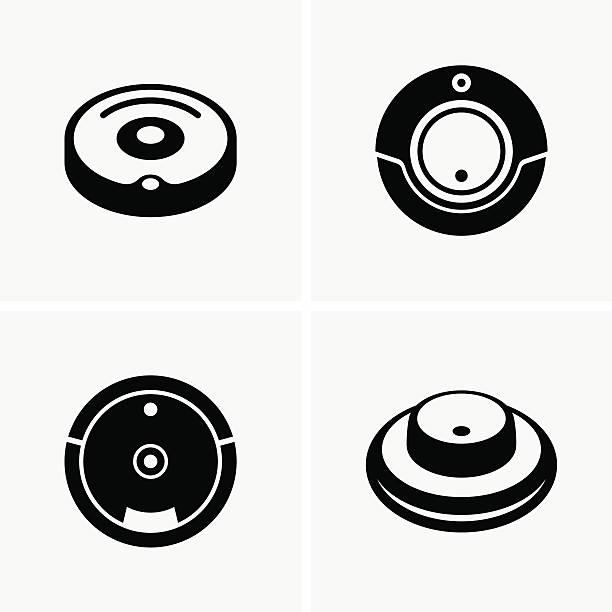 Robotic vacuum cleaner vector art illustration